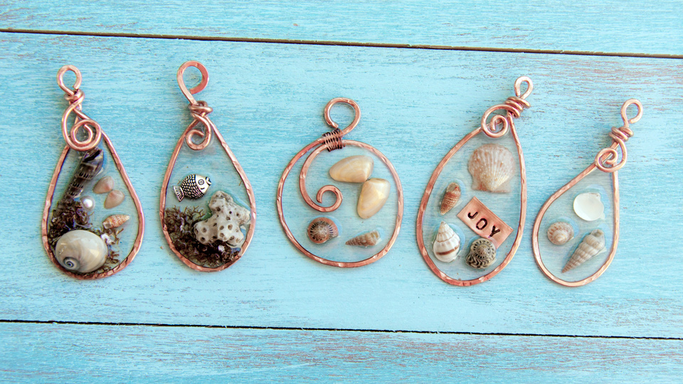 Hammered Copper and Resin Pendants with Seashells
