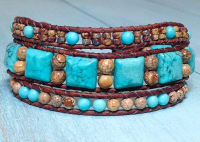 Howlite squares with picture jasper, simulated turquoise and Picasso brown seed beads.