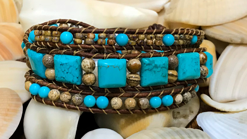 Picture Jasper and Howlite Wrap Bracelet