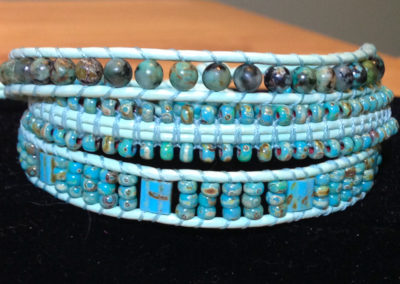 African Turquoise with Picasso-Finish Japanese Seed Beads.