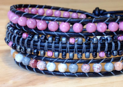 Rhodonite, Mexican Sky Eye Jasper and Japanese Seed Beads.