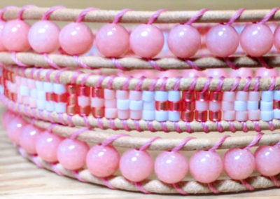 Perfectly Pink -  Pink dyed jade with seed beads in a mixture of pinks and white pattern.