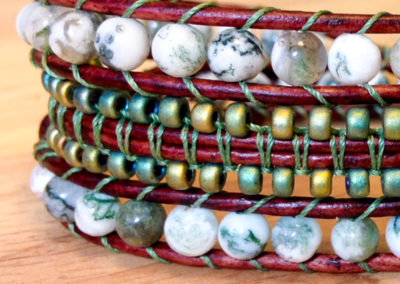 Tree Agate and Czech Seed Beads.